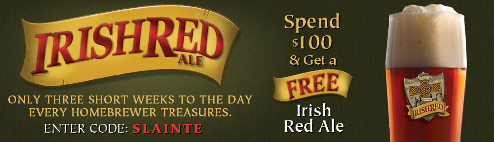 Free Irish Red Beer Kit on Orders Over $100